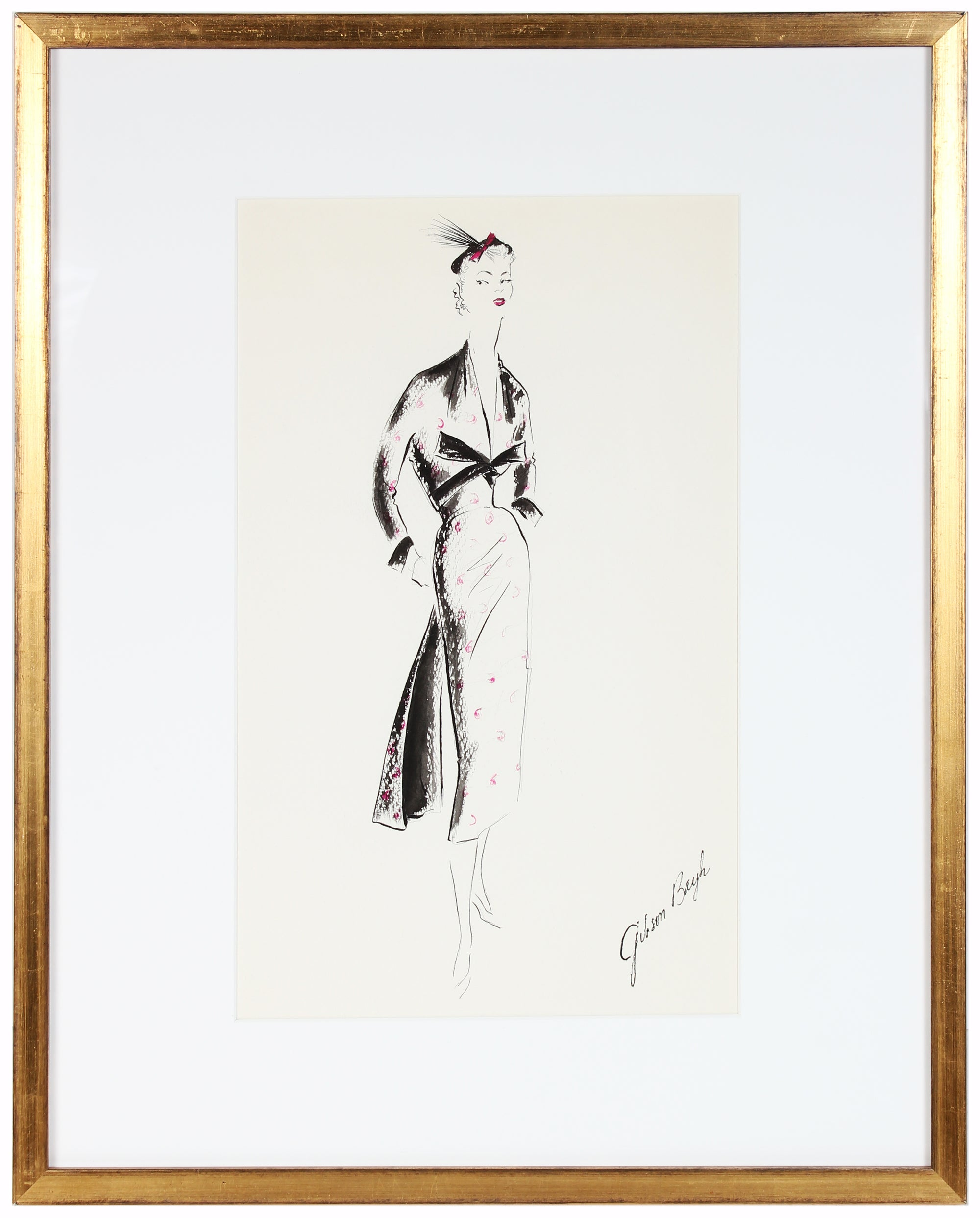 Black Dress With Bow<br> Gouache & Ink Fashion Illustration<br><br>#26262