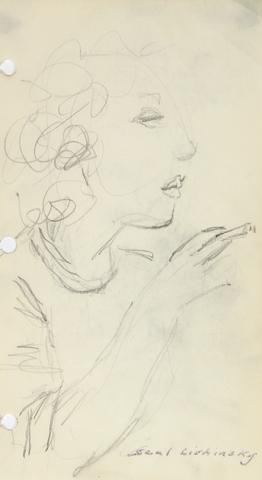 Woman in Profile<br>Graphite, Mid Century<br><br>#57901