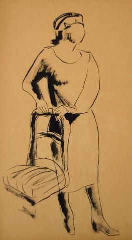 Figure with Chair<br>1930-50s Ink Wash<br><br>#15982
