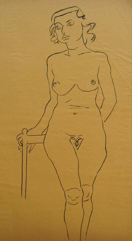 1930-50s Female Nude<br>Pen & Ink Drawing<br><br>#16015