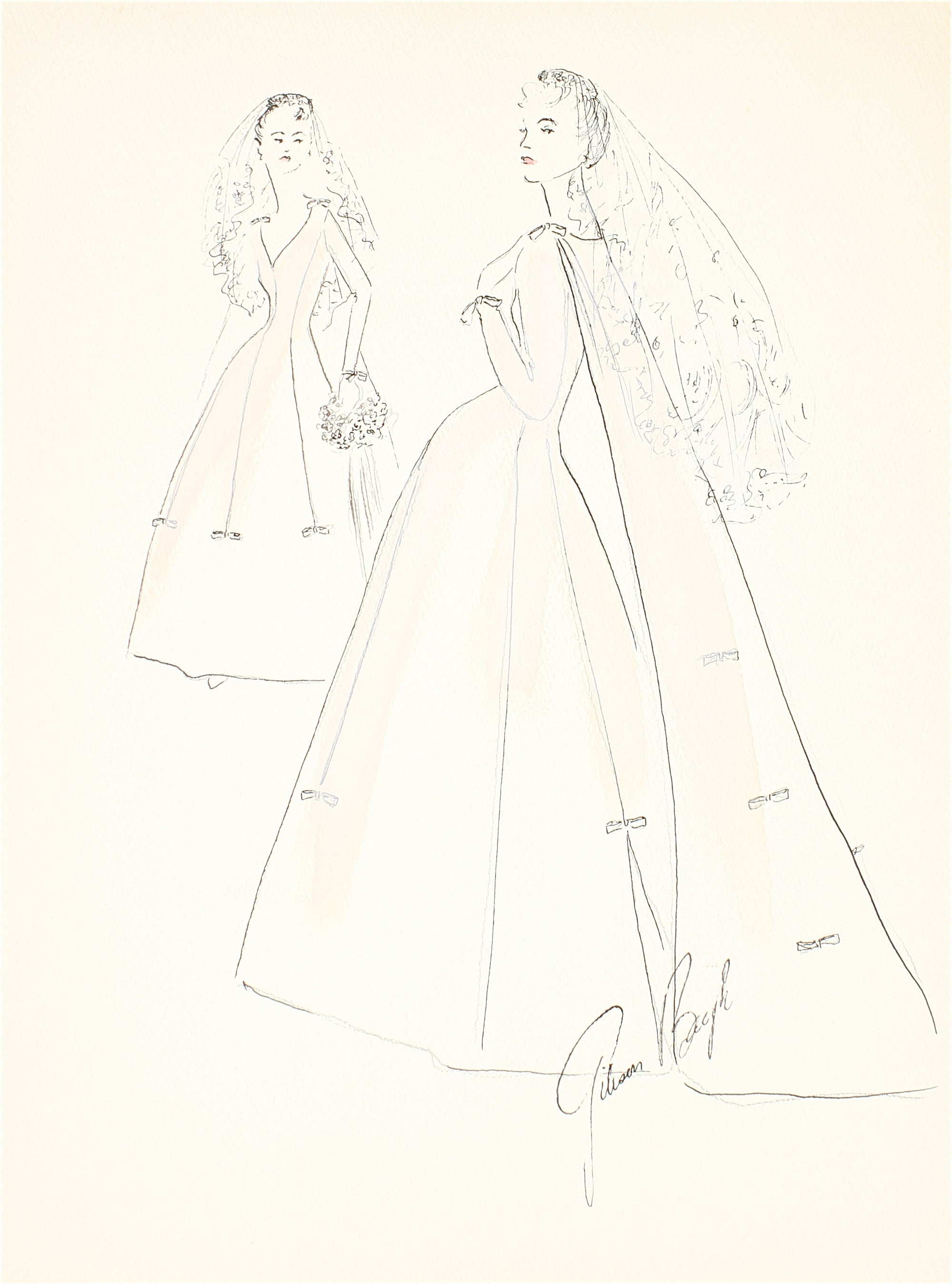 Wedding Dress with A Train and Veil<br> Gouache & Ink Fashion Illustration<br><br>#26532