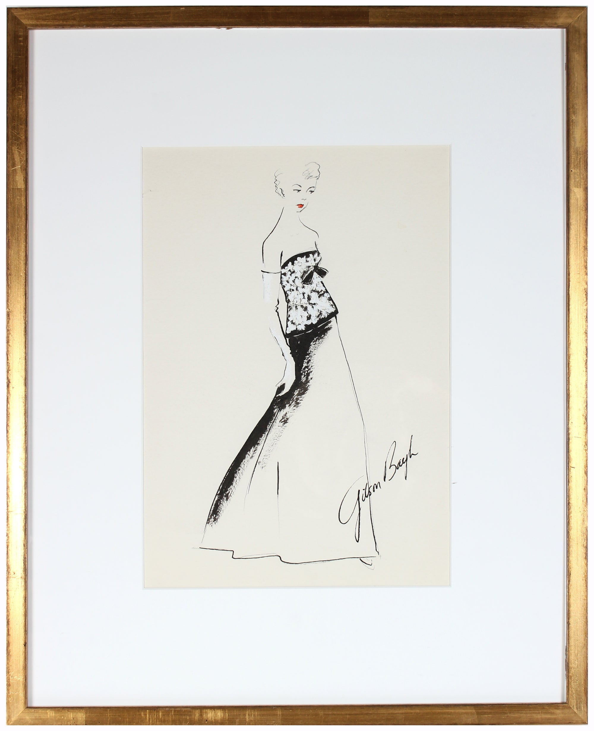 Strapless Evening Gown in Black & White<br> Gouache & Ink Fashion Illustration<br><br>#26560