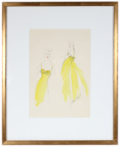 Lemon Yellow Gown<br> Gouache & Ink Fashion Illustration<br><br>#26562