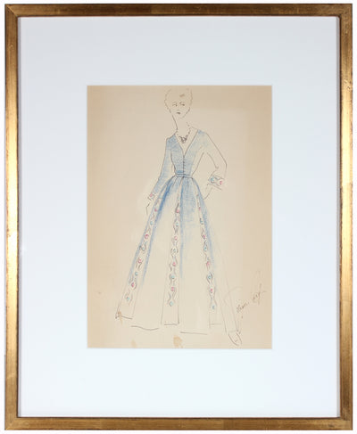 Bejeweled Blue Dress<br>Gouache & Ink Fashion Illustration<br><br>#26948