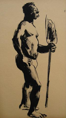 Standing Male Nude<br>Ink Wash, 1930-50s<br><br>#16042