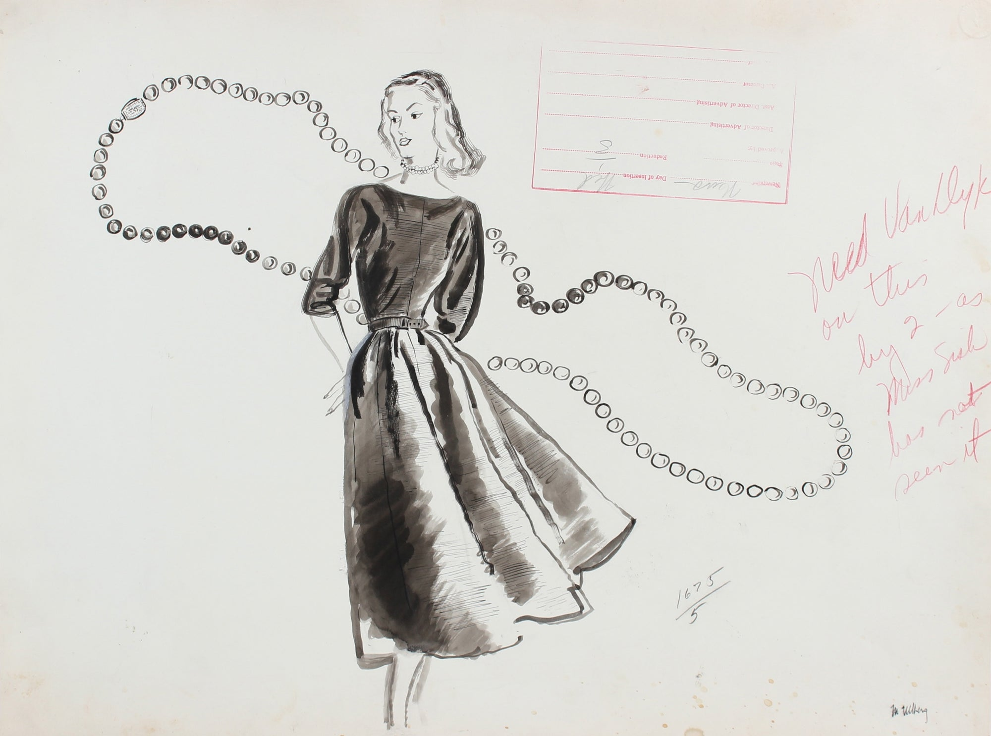 Monochromatic Fashion Illustration with Strand of Pearls, 1946-54<br><br>#27158