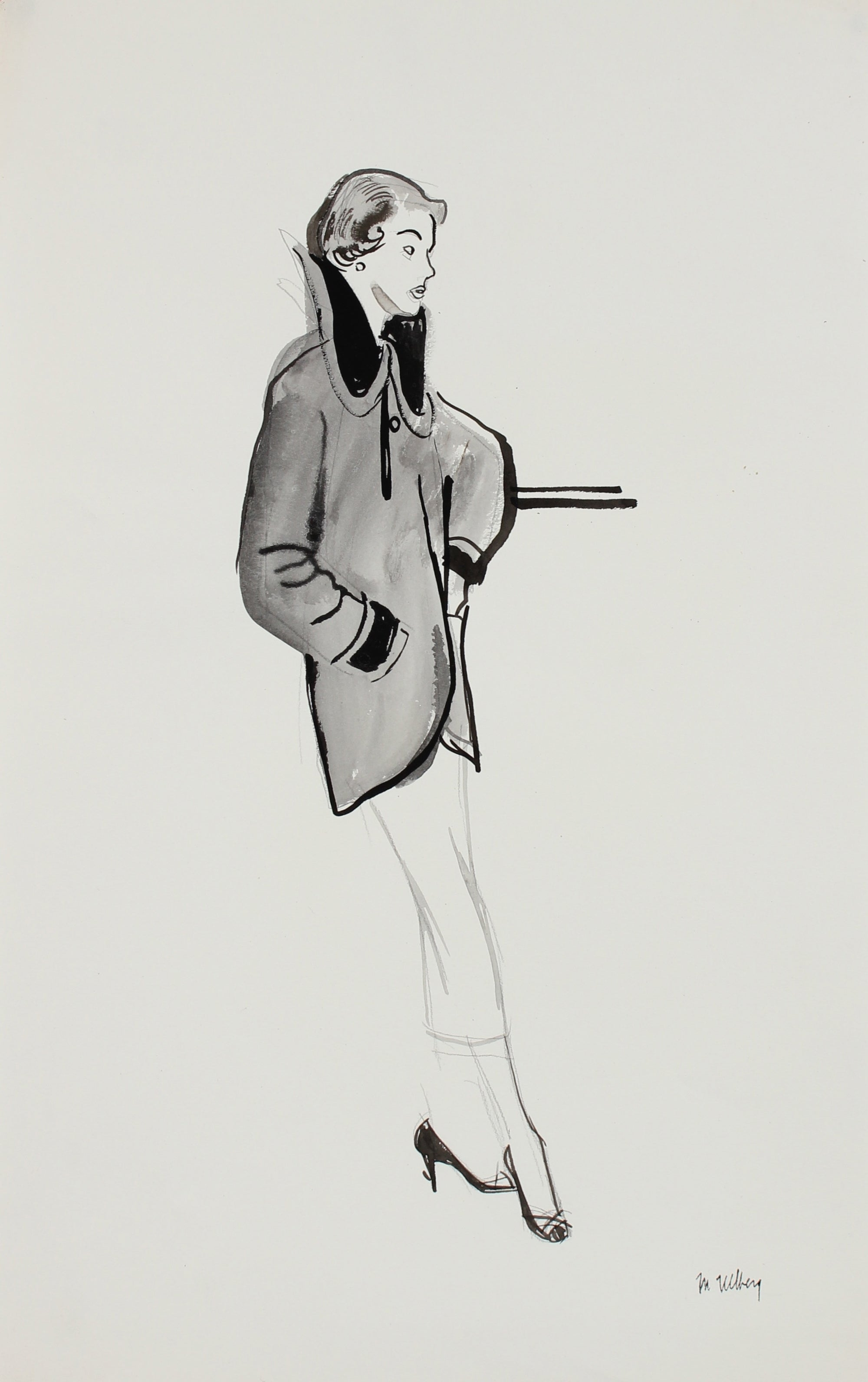 1946-54 Lady's Coat Fashion Illustration<br><br>#27162