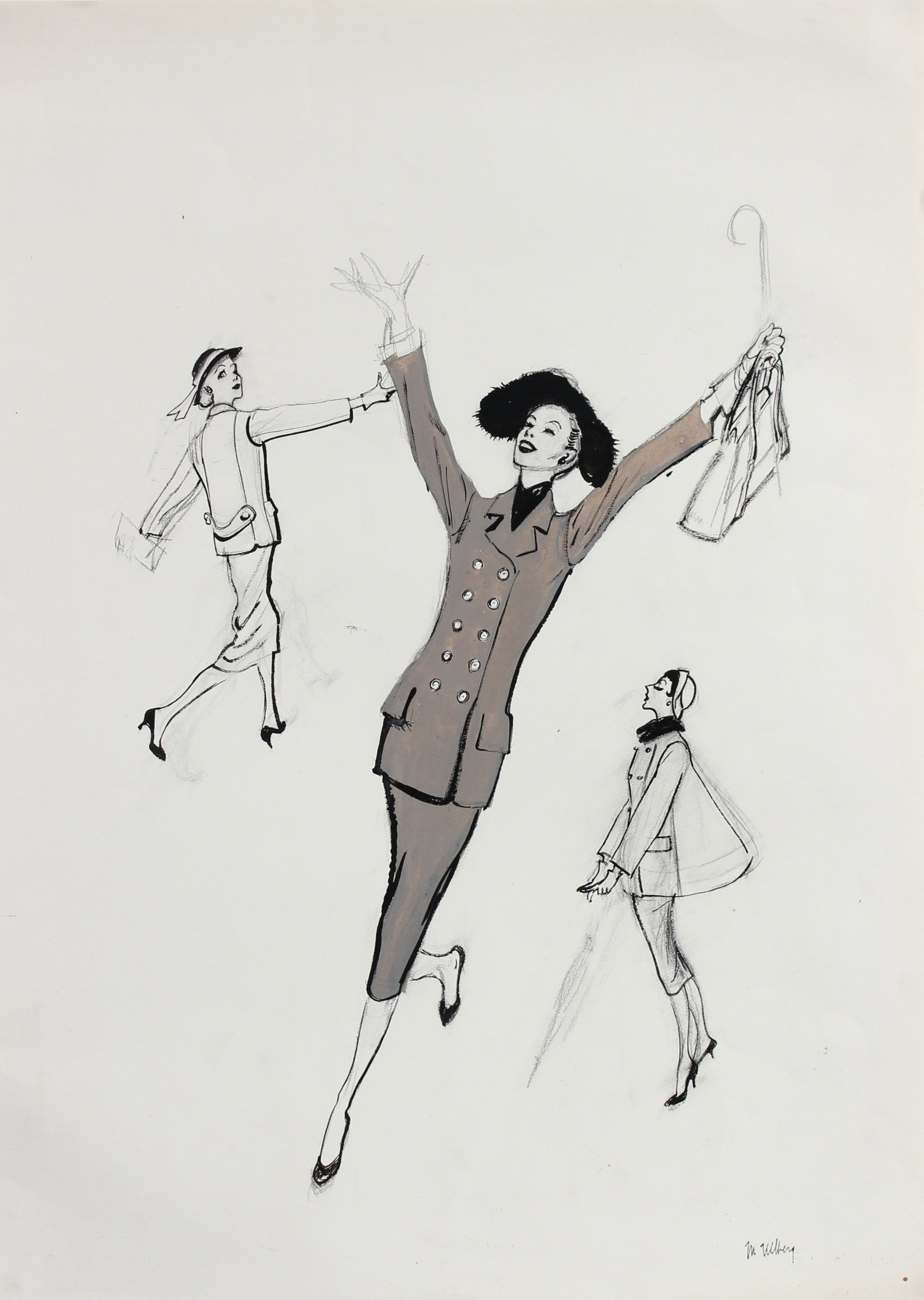 Joyful Monochromatic Fashion Illustration, 1946-54<br><br>#27168