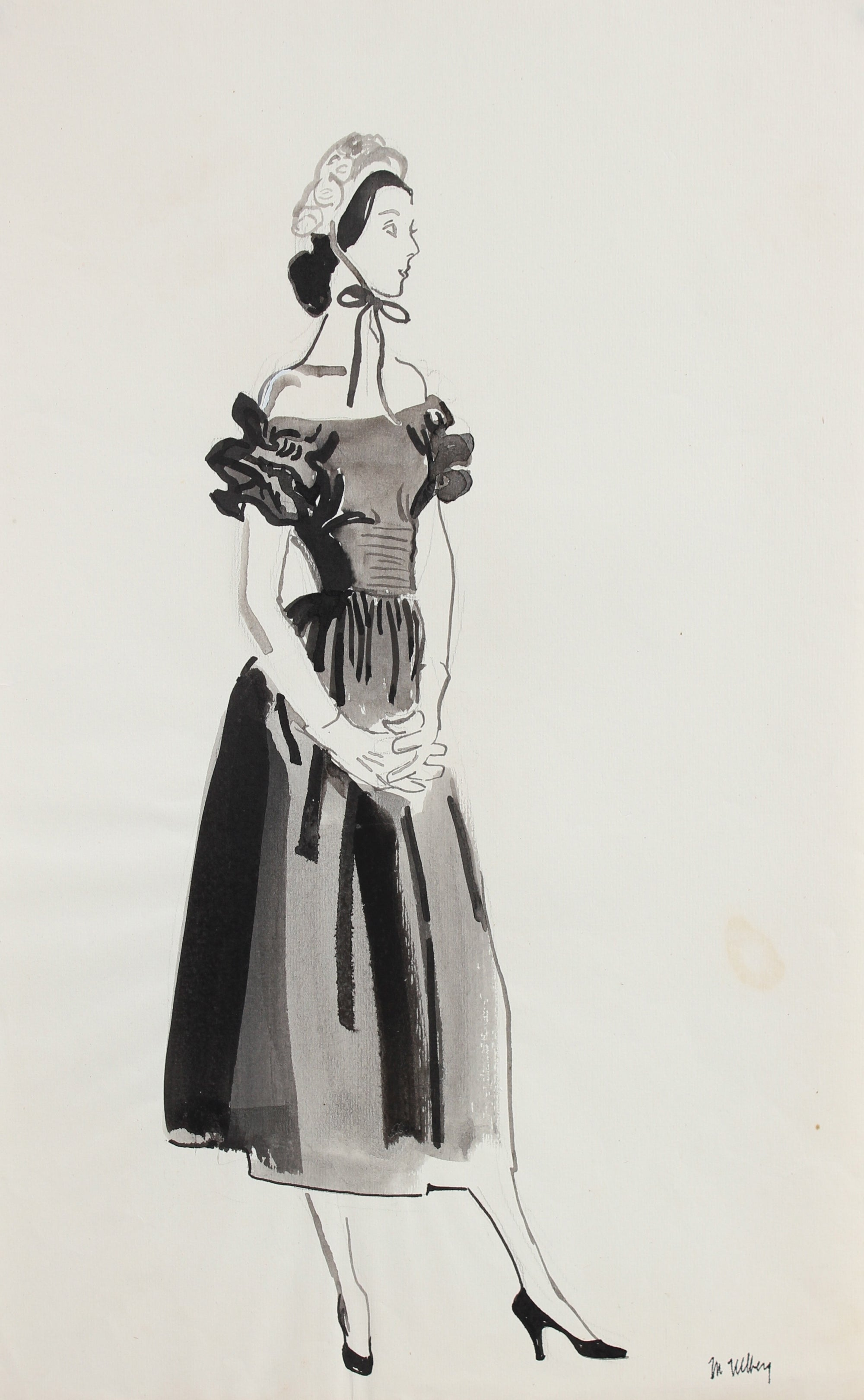 Fashion Illustration with Bonnet, 1946-54<br><br>#27170