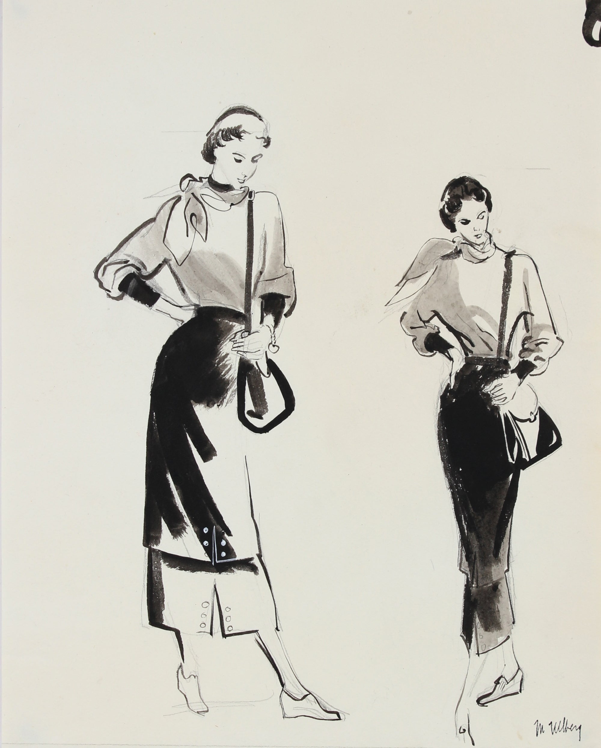 Fashion Pair in Gouache & Graphite<br>1946-54<br><br>#27215