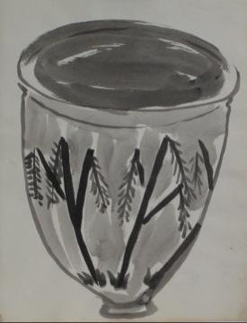 Monochrome Still Life of A Vase<br>1960's Ink Drawing<br><br>#9978