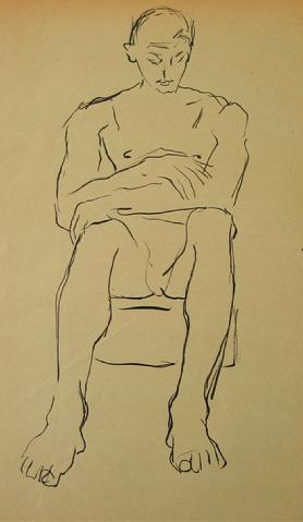 Minimalist Seated Nude<br>1930-50s Drawing<br><br>#15987