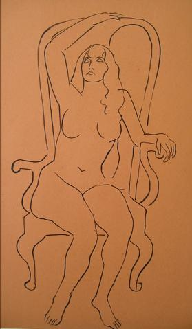 Nude in a Grand Chair<br>1930-50s Pen & Ink<br><br>#15973
