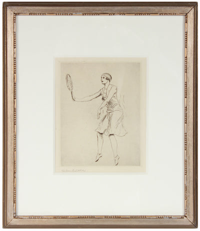 Female Tennis Player in Motion <br>1920-30s Etching <br><br>#28438