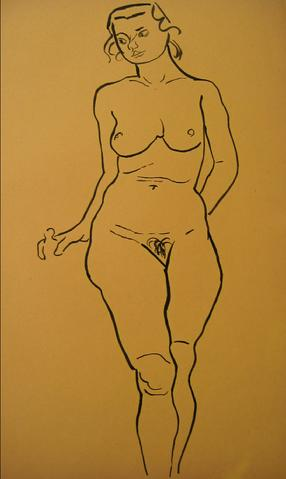 WPA Nude<br>1930-50s Pen & Ink<br><br>#15967