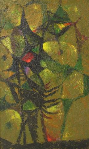 <i>Arachnidan Design</i><br>1930s Oil Abstract<br><br>#13536