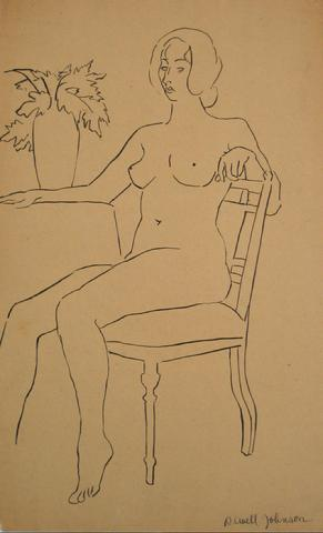 Seated Female Nude<br>1930-50s Pen & Ink<br><br>#15934