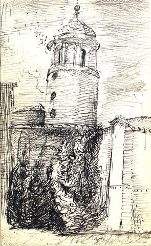 Modernist Tower Sketch<br>1940-60s<br><br>#10384