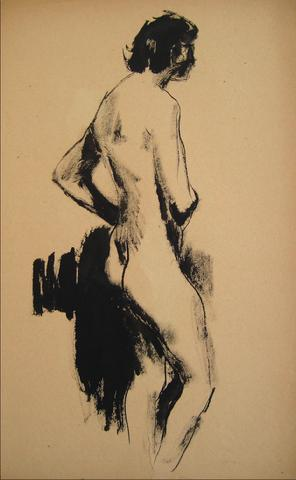 Standing Nude Figure<br>Ink Wash, 1930-50s<br><br>#15923