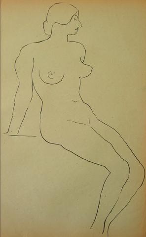 Minimalist Seated Nude<br>1930-50s Drawing<br><br>#15986