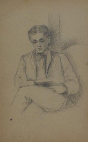 Gentleman Reading<br>Early-Mid 1800s Graphite<br><br>#10091