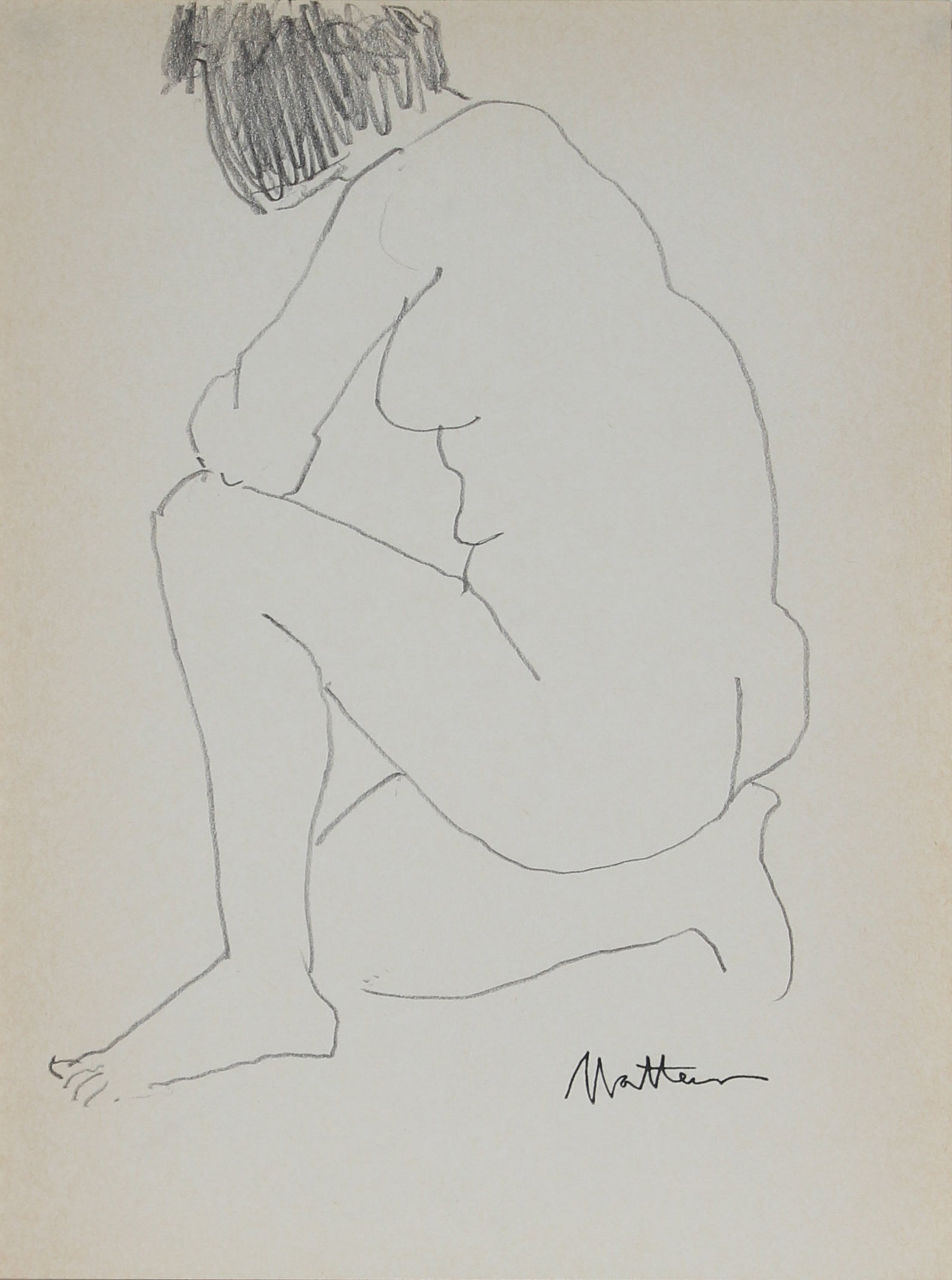 Kneeling Nude Line Drawing <br>1989 Graphite <br><br>#30030