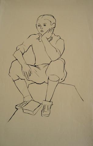 Boy in Thought<br>Pen & Ink, 1930-50s<br><br>#15930