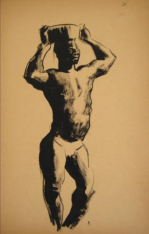 Standing Nude Figure<br>Ink Wash, 1930-50s<br><br>#15915