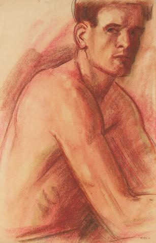 Portrait of a Man<br>Early-Mid Century Pastel Drawing<br><br>#90749