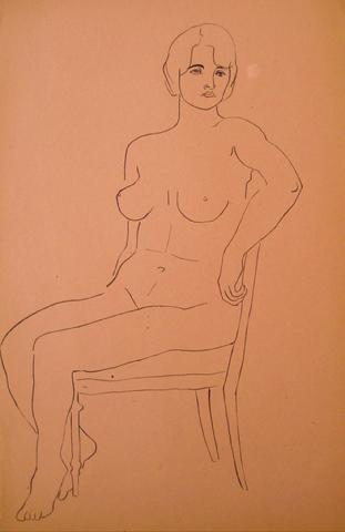 Minimal Nude Study<br>Pen & Ink, 1930-50s<br><br>#15949
