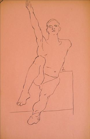 Reaching Out, Male Nude<br>1930-50s Pen & Ink<br><br>#15955