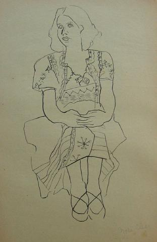 <i>Zola Clear</i><br>1930-50s Pen & Ink<br><br>#16043