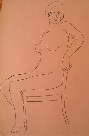 Bold Seated Nude<br>1930-50s Pen & Ink<br><br>#15984