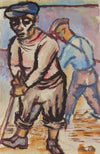 Two Sailors Mopping The Deck<br>1943 Gouache<br><br>#30673