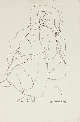 Haloed Woman<br>Mid Century Ink Drawing<br><br>#57873