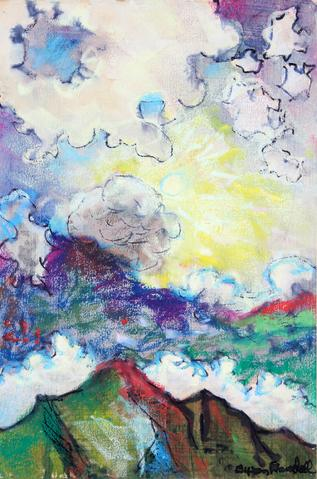 Gleaming Sun Through Clouds<br>1969 Ink & Pastel<br><br>#33187
