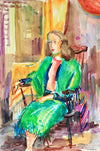 Portrait of a Woman in Green<br>Mid Century Watercolor<br><br>#82252