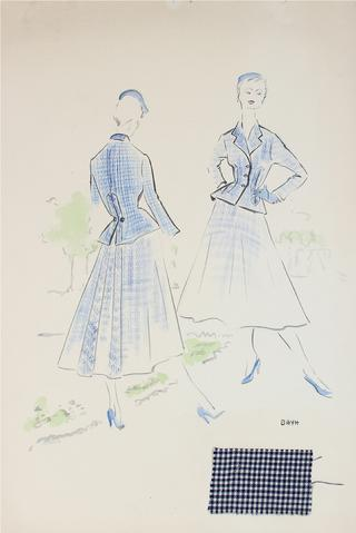 Matching Blue Outerwear<br> Gouache & Ink Fashion Illustration<br><br>#26192