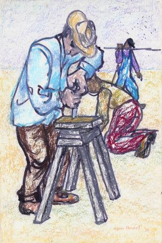 <i>Working Men</i><br>1959 Pastel Scene<br><br>#33208