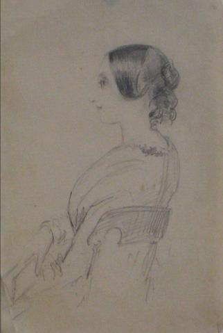Portait Study in Profile<br>Graphite, Early-Mid 1800s<br><br>#10132