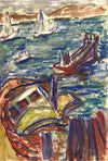 Sailboats in the Bay<br>Mid Century Watercolor<br><br>#5141