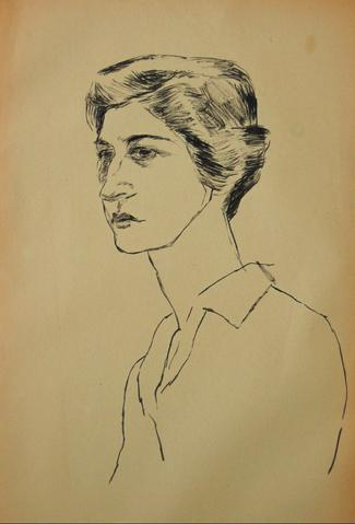 Pen & Ink Portrait Study<br>1930-50s<br><br>#15946
