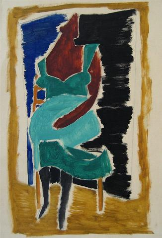Seated Figure - Cubist Deconstruction<br>Oil on Canvas-Textured Paper<br><br>#16324