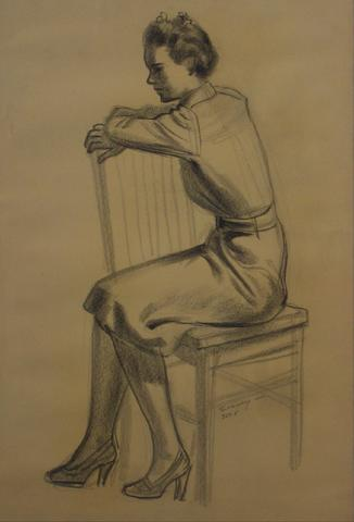 Seated Woman in Graphite<br>1920-30s<br><br>#9478
