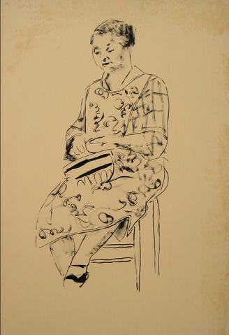 Modernist Seated Woman<br>1930-50s Pen & Ink<br><br>#15962