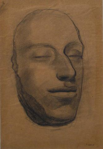 Modernist Mask Study<br>1920-30s Graphite<br><br>#9410