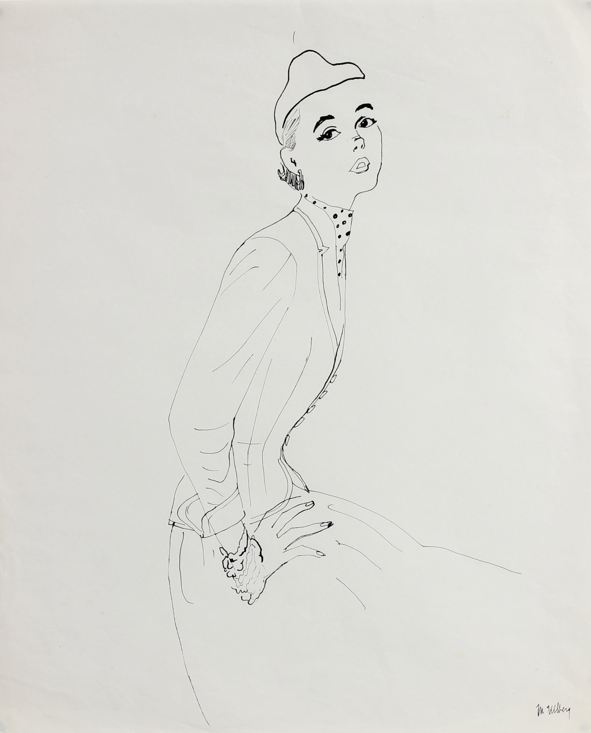 Simple Monochromatic Fashion Illustration <br>Mid Century Ink <br><br>#3351