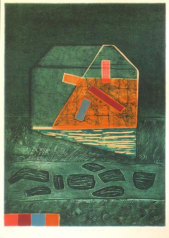 <i>House Grid #66</i><br>1970-80s Collograph & Lithograph<br><br>#12054