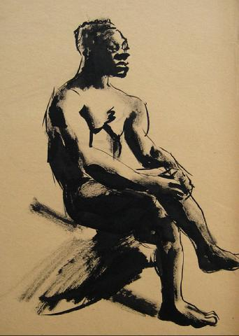 Ink Wash Male Nude<br>1930-50s Drawing<br><br>#16030