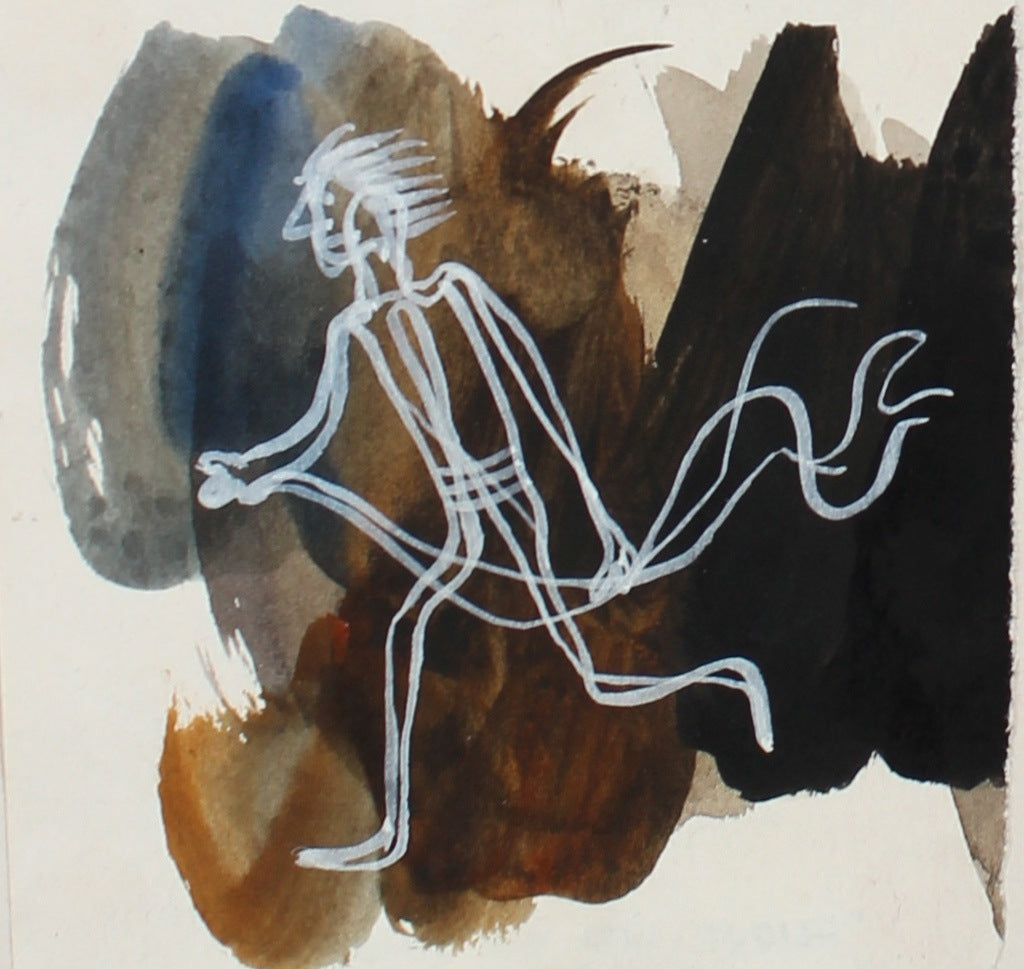 Petit Dynamic Running Figure in White <br>1946 Gouache <br><br>#3436